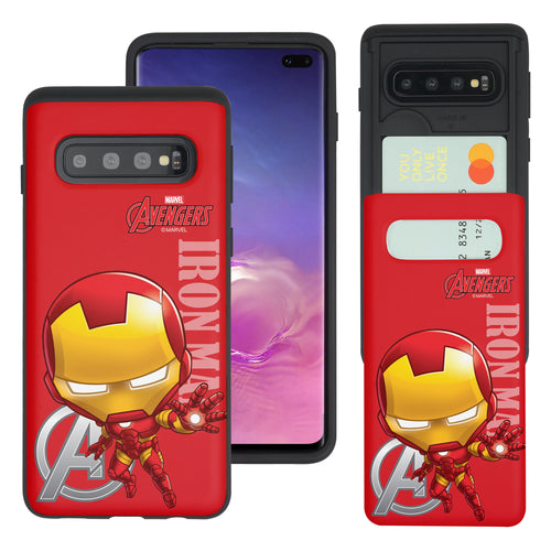 Galaxy S10 5G Case (6.7inch) Marvel Avengers Slim Slider Card Slot Dual Layer Holder Bumper Cover - Mini Iron Man