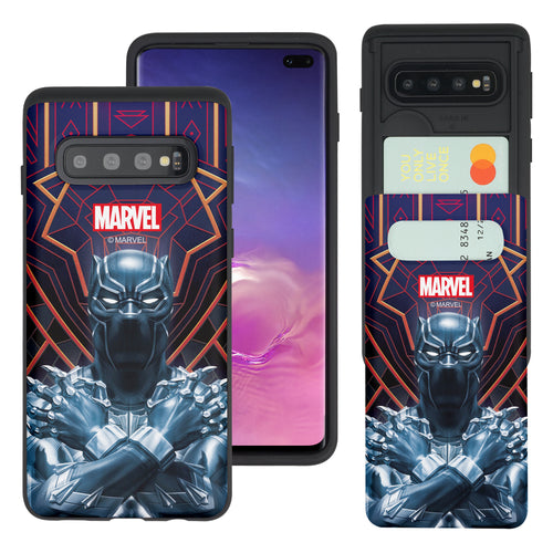 Galaxy S10 5G Case (6.7inch) Marvel Avengers Slim Slider Card Slot Dual Layer Holder Bumper Cover - Black Panther Face Lines