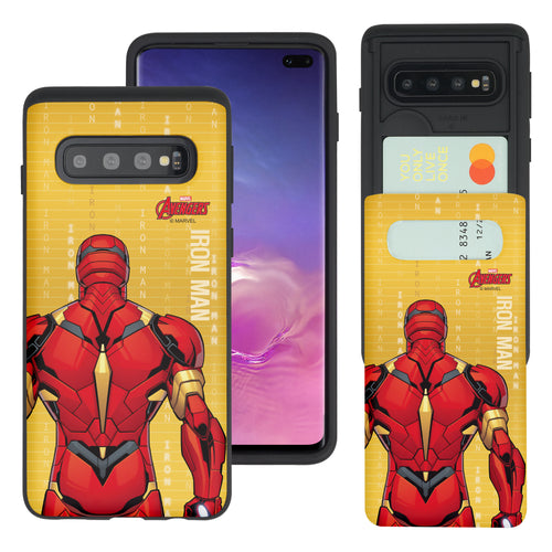 Galaxy S10 Plus Case (6.4inch) Marvel Avengers Slim Slider Card Slot Dual Layer Holder Bumper Cover - Back Iron Man