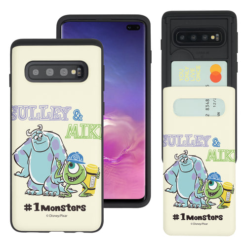 Galaxy S10 Plus Case (6.4inch) Monsters University inc Slim Slider Card Slot Dual Layer Holder Bumper Cover - Cartoon 1 Monsters