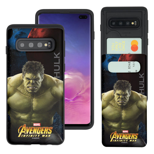 Galaxy S10 5G Case (6.7inch) Marvel Avengers Slim Slider Card Slot Dual Layer Holder Bumper Cover - Infinity War Hulk