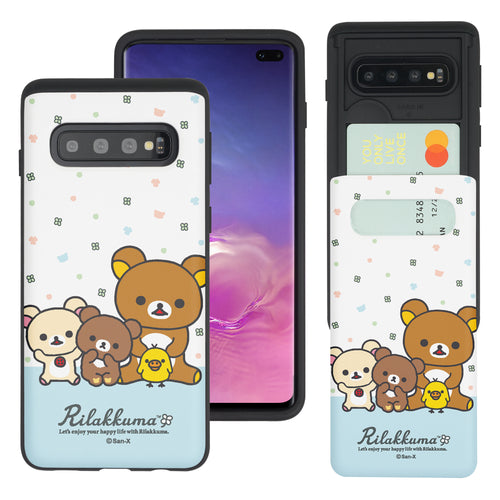 Galaxy S10e Case (5.8inch) Rilakkuma Slim Slider Card Slot Dual Layer Holder Bumper Cover - Rilakkuma Friends