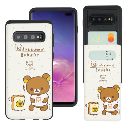 Galaxy S10e Case (5.8inch) Rilakkuma Slim Slider Card Slot Dual Layer Holder Bumper Cover - Rilakkuma Bread