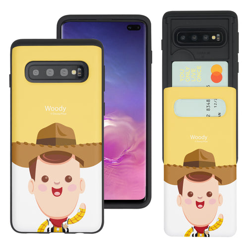 Galaxy S10 Plus Case (6.4inch) Toy Story Slim Slider Card Slot Dual Layer Holder Bumper Cover - Baby Woody