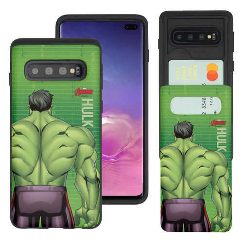 Galaxy S10 Plus Case (6.4inch) Marvel Avengers Slim Slider Card Slot Dual Layer Holder Bumper Cover - Back Hulk