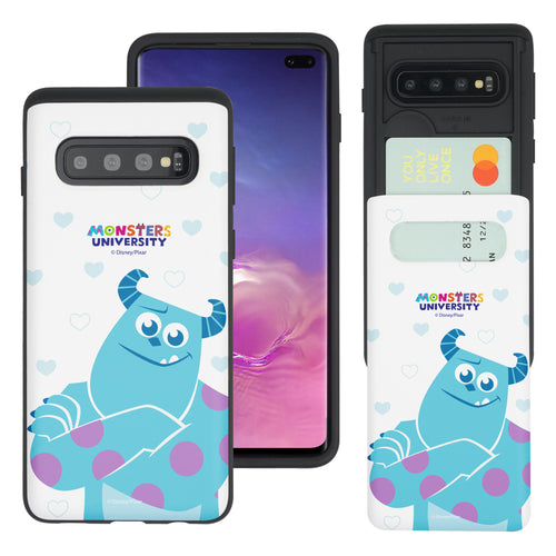 Galaxy S10 Case (6.1inch) Monsters University inc Slim Slider Card Slot Dual Layer Holder Bumper Cover - Full Sulley