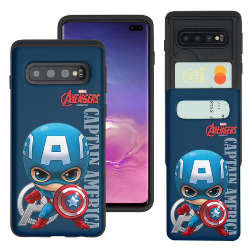 Galaxy S10 Plus Case (6.4inch) Marvel Avengers Slim Slider Card Slot Dual Layer Holder Bumper Cover - Mini Captain America