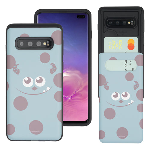 Galaxy S10 Case (6.1inch) Monsters University inc Slim Slider Card Slot Dual Layer Holder Bumper Cover - Face Sulley