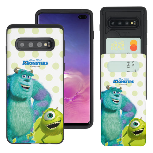 Galaxy S10 Plus Case (6.4inch) Monsters University inc Slim Slider Card Slot Dual Layer Holder Bumper Cover - Movie Mike Sulley