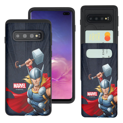Galaxy S10 5G Case (6.7inch) Marvel Avengers Slim Slider Card Slot Dual Layer Holder Bumper Cover - Illustration Thor