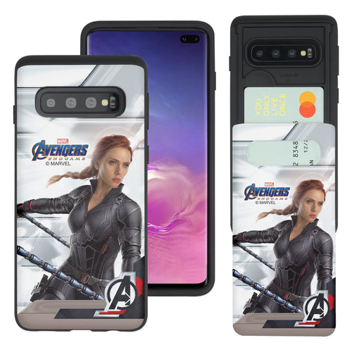 Galaxy S10 Plus Case (6.4inch) Marvel Avengers Slim Slider Card Slot Dual Layer Holder Bumper Cover - End Game Black Widow