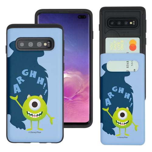 Galaxy S10 Case (6.1inch) Monsters University inc Slim Slider Card Slot Dual Layer Holder Bumper Cover - Simple Mike