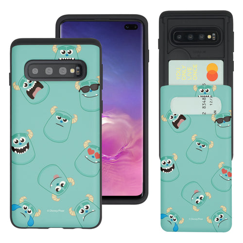 Galaxy S10 Case (6.1inch) Monsters University inc Slim Slider Card Slot Dual Layer Holder Bumper Cover - Pattern Sulley