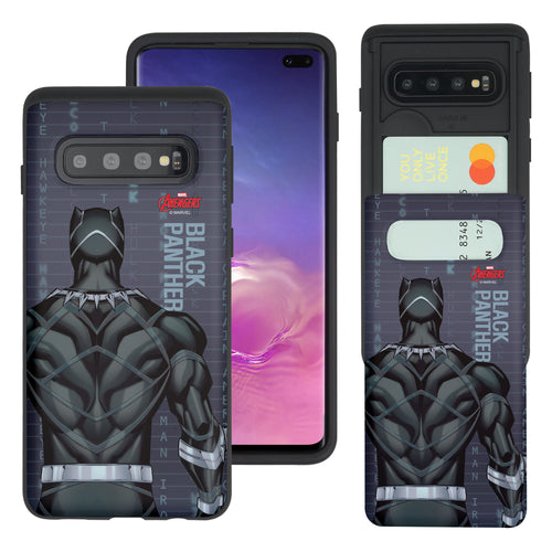 Galaxy S10 Plus Case (6.4inch) Marvel Avengers Slim Slider Card Slot Dual Layer Holder Bumper Cover - Back Black Panther