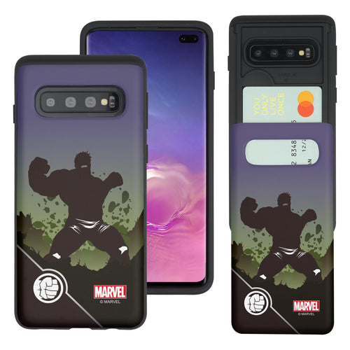 Galaxy S10 Plus Case (6.4inch) Marvel Avengers Slim Slider Card Slot Dual Layer Holder Bumper Cover - Shadow Hulk