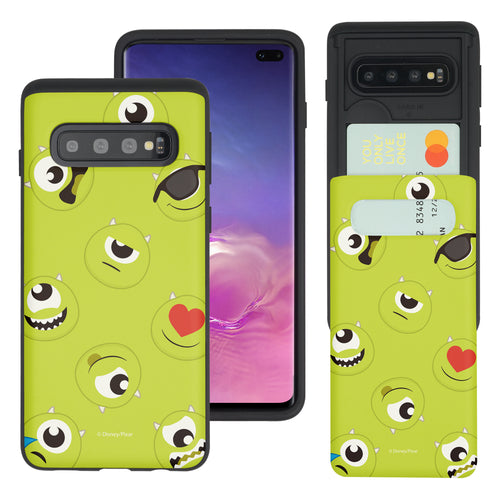 Galaxy S10 Plus Case (6.4inch) Monsters University inc Slim Slider Card Slot Dual Layer Holder Bumper Cover - Pattern Mike