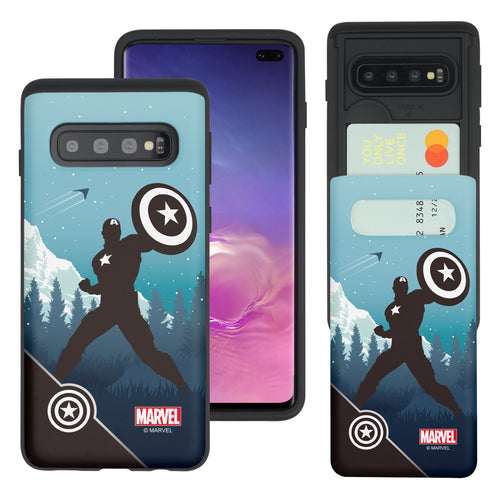 Galaxy S10 5G Case (6.7inch) Marvel Avengers Slim Slider Card Slot Dual Layer Holder Bumper Cover - Shadow Captain America