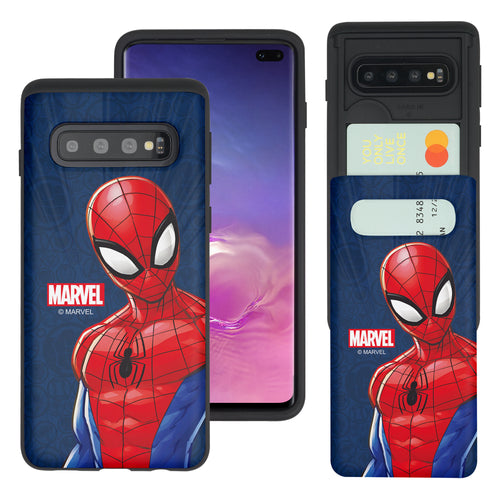 Galaxy S10 5G Case (6.7inch) Marvel Avengers Slim Slider Card Slot Dual Layer Holder Bumper Cover - Illustration Spider Man
