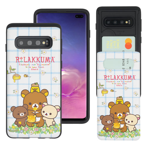 Galaxy S10e Case (5.8inch) Rilakkuma Slim Slider Card Slot Dual Layer Holder Bumper Cover - Rilakkuma Honey