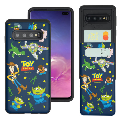 Galaxy S10 Case (6.1inch) Toy Story Slim Slider Card Slot Dual Layer Holder Bumper Cover - Pattern Toy Story