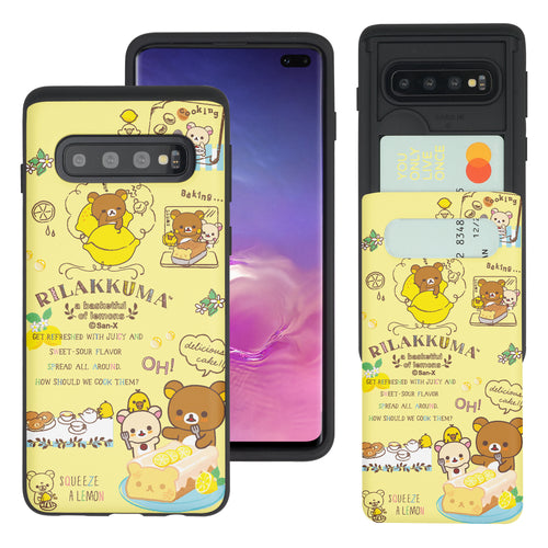 Galaxy S10e Case (5.8inch) Rilakkuma Slim Slider Card Slot Dual Layer Holder Bumper Cover - Rilakkuma Cooking