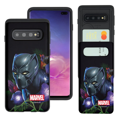 Galaxy S10 5G Case (6.7inch) Marvel Avengers Slim Slider Card Slot Dual Layer Holder Bumper Cover - Black Panther Face Black