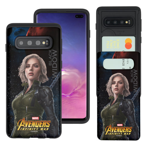 Galaxy S10 Plus Case (6.4inch) Marvel Avengers Slim Slider Card Slot Dual Layer Holder Bumper Cover - Infinity War Black Widow