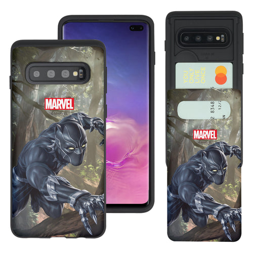 Galaxy S10 5G Case (6.7inch) Marvel Avengers Slim Slider Card Slot Dual Layer Holder Bumper Cover - Black Panther Jungle