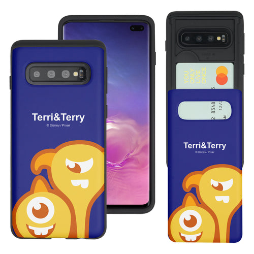 Galaxy S10 Case (6.1inch) Monsters University inc Slim Slider Card Slot Dual Layer Holder Bumper Cover - Big Terri and Terry