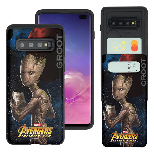 Galaxy S10 5G Case (6.7inch) Marvel Avengers Slim Slider Card Slot Dual Layer Holder Bumper Cover - Infinity War Groot