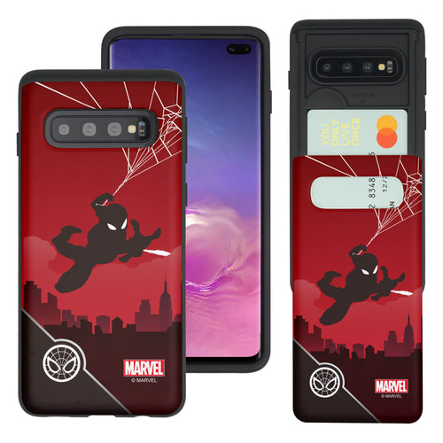 Galaxy S10 Plus Case (6.4inch) Marvel Avengers Slim Slider Card Slot Dual Layer Holder Bumper Cover - Shadow Spider Man