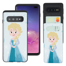 Load image into Gallery viewer, Galaxy S10e Case (5.8inch) Disney Frozen Dual Layer Card Slide Slot Wallet Bumper Cover - Cute Elsa