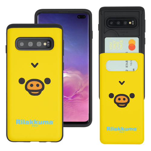 Galaxy S10e Case (5.8inch) Rilakkuma Slim Slider Card Slot Dual Layer Holder Bumper Cover - Face Kiiroitori