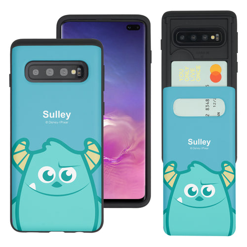 Galaxy S10 Case (6.1inch) Monsters University inc Slim Slider Card Slot Dual Layer Holder Bumper Cover - Big Sulley