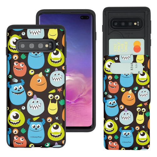 Galaxy S10 Plus Case (6.4inch) Monsters University inc Slim Slider Card Slot Dual Layer Holder Bumper Cover - Icon Monsters