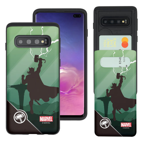 Galaxy S10 Plus Case (6.4inch) Marvel Avengers Slim Slider Card Slot Dual Layer Holder Bumper Cover - Shadow Thor