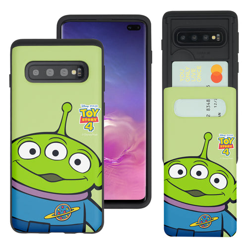 Galaxy S10 Plus Case (6.4inch) Toy Story Slim Slider Card Slot Dual Layer Holder Bumper Cover - Wide Alien