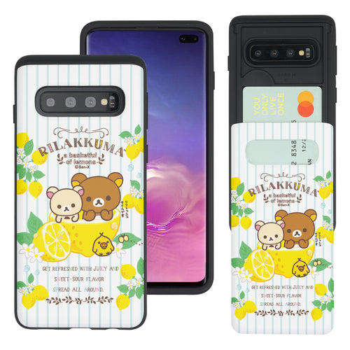 Galaxy S10e Case (5.8inch) Rilakkuma Slim Slider Card Slot Dual Layer Holder Bumper Cover - Rilakkuma Lemon