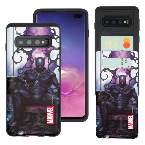 Galaxy S10 5G Case (6.7inch) Marvel Avengers Slim Slider Card Slot Dual Layer Holder Bumper Cover - Black Panther Sit