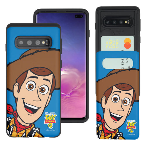 Galaxy S10 Plus Case (6.4inch) Toy Story Slim Slider Card Slot Dual Layer Holder Bumper Cover - Wide Woody