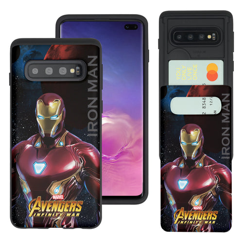 Galaxy S10 5G Case (6.7inch) Marvel Avengers Slim Slider Card Slot Dual Layer Holder Bumper Cover - Infinity War Iron Man