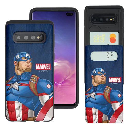 Galaxy S10 5G Case (6.7inch) Marvel Avengers Slim Slider Card Slot Dual Layer Holder Bumper Cover - Illustration Captain America