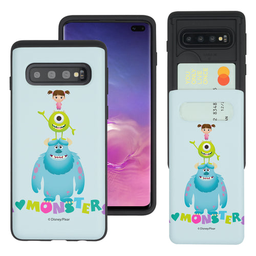 Galaxy S10 Case (6.1inch) Monsters University inc Slim Slider Card Slot Dual Layer Holder Bumper Cover - Simple Together