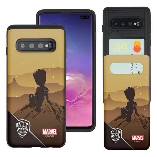 Galaxy S10 5G Case (6.7inch) Marvel Avengers Slim Slider Card Slot Dual Layer Holder Bumper Cover - Shadow Groot