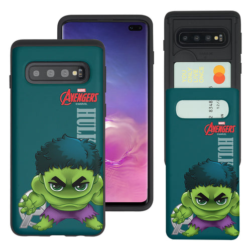 Galaxy S10 Plus Case (6.4inch) Marvel Avengers Slim Slider Card Slot Dual Layer Holder Bumper Cover - Mini Hulk