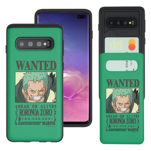 Galaxy S10 Plus Case (6.4inch) ONE PIECE Slim Slider Card Slot Dual Layer Holder Bumper Cover - Look Zoro