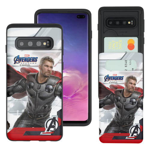Galaxy S10 5G Case (6.7inch) Marvel Avengers Slim Slider Card Slot Dual Layer Holder Bumper Cover - End Game Thor