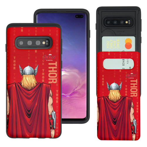 Galaxy S10 Plus Case (6.4inch) Marvel Avengers Slim Slider Card Slot Dual Layer Holder Bumper Cover - Back Thor