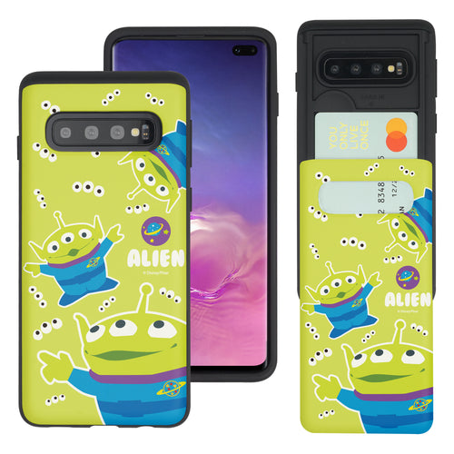Galaxy S10 Plus Case (6.4inch) Toy Story Slim Slider Card Slot Dual Layer Holder Bumper Cover - Pattern Alien Eyes