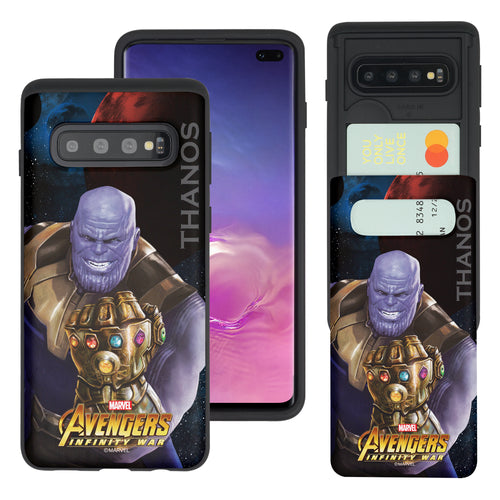 Galaxy S10 Plus Case (6.4inch) Marvel Avengers Slim Slider Card Slot Dual Layer Holder Bumper Cover - Infinity War Thanos